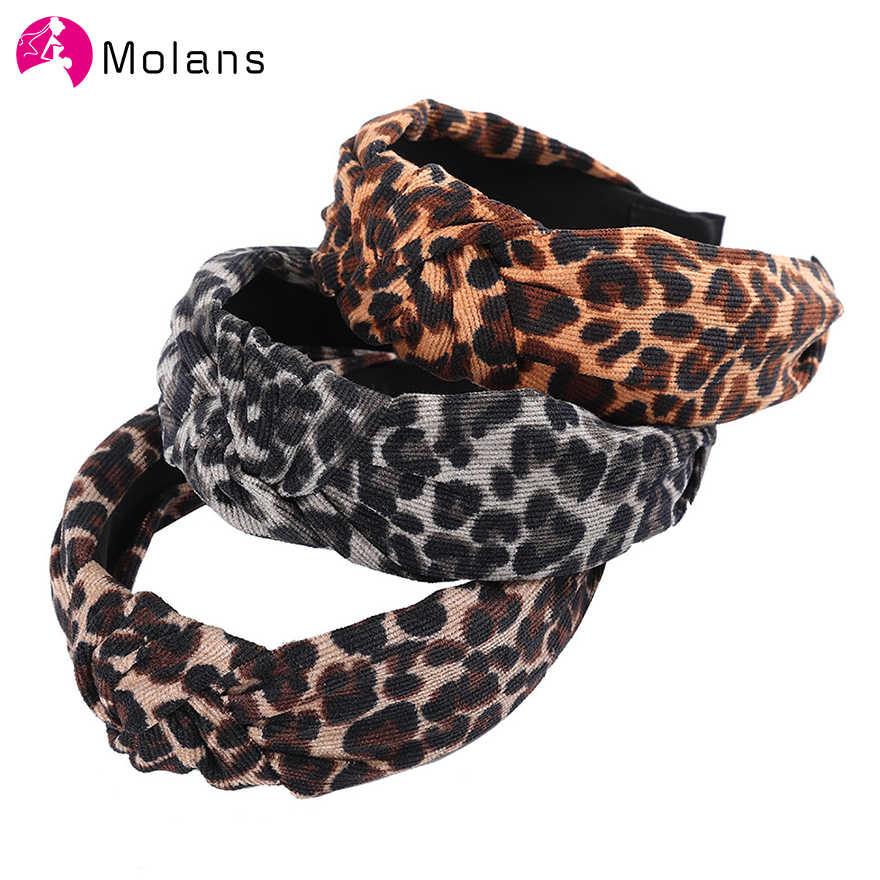 Molans Baru Leopard Flanel Hai... Pusat Mode Simpul Headband Leopard Cetak Hiasan Kepala untuk Wanita Lebar Rambut Hoops Hairband