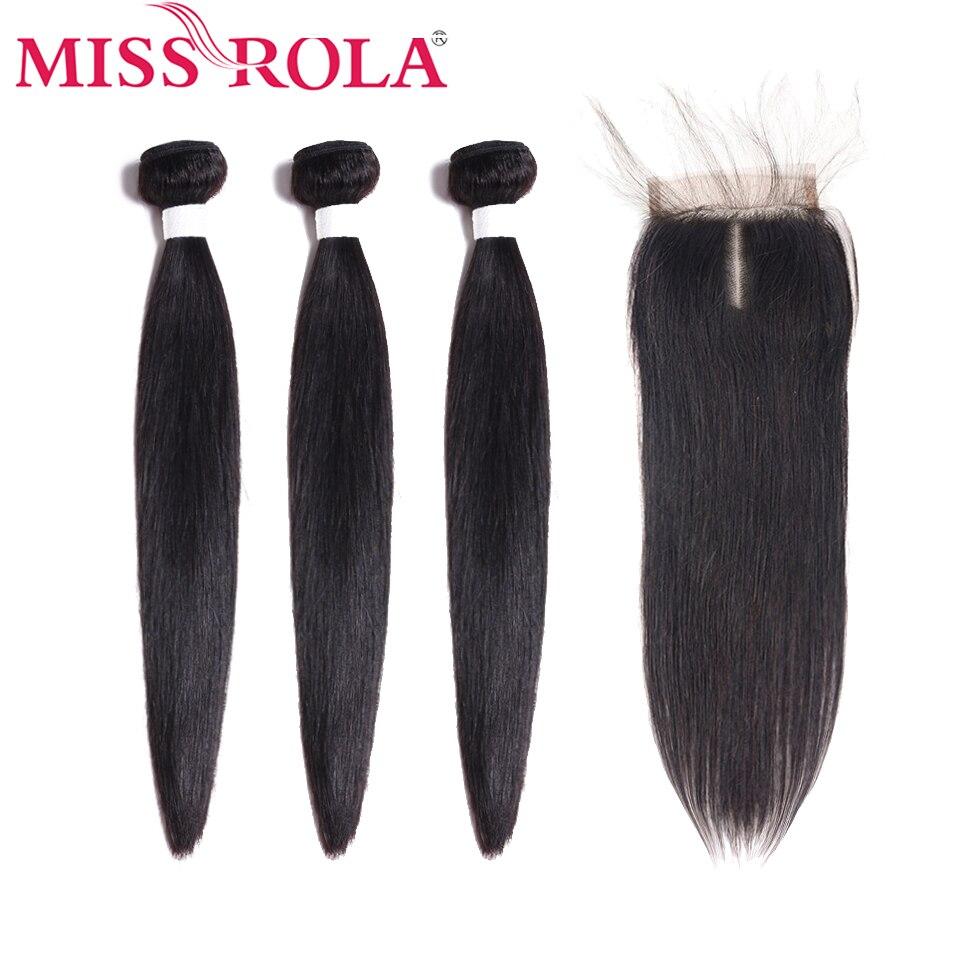 Miss Rola прямые волосы перуанские пучки волос с закрытием 100% Huaman Волосы 3 пучка 8 26 дюймов не Реми волосы для наращивания-in 3/4 пучка на сетке from Пряди и парики для волос on AliExpress