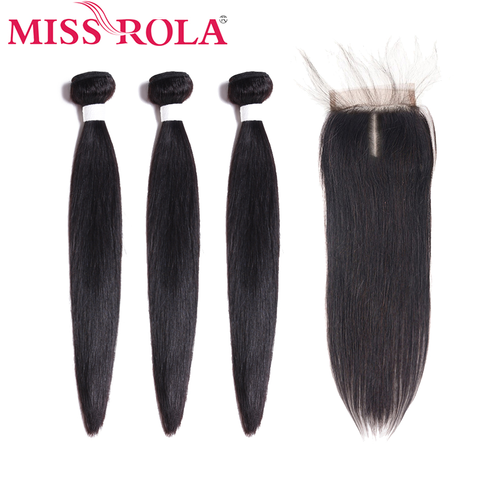 Miss Rola Straight Hair Peruvian Hair Bundles with Closure 100% Huaman Hair 3 Bundles 8-26 Inch Non-Remy Hair Extensions