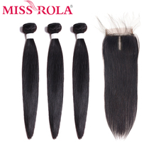 Miss Rola Straight Hair Peruvian Bundles with Closure 100% Huaman 3 8-26 Inch Non-Remy Extensions
