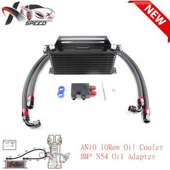 For BM* N54 135i 335i oil filter adapter +  AN10 10 rows oil cooler + oil cooler Mounting Bracket