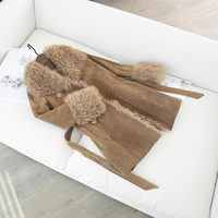 Real fur coat women plus size real sheep fur collar 2019 new fashion winter clothes women natural pigskin leather jacket long co