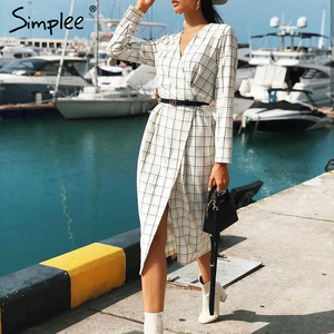 Image 2 - Simplee Elegant long sleeve plaid dress Sexy v neck strap women party dress High wiast office ladies autumn chic work dress 2019