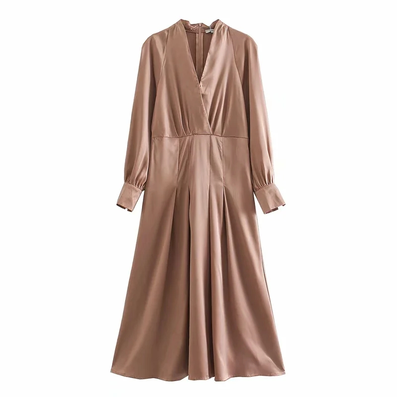 Za 2020 New Summer Women Mididress with v neck solid Long Sleeve Elegant Silk Dress Femme Loose Casual mididress  Vestido|Платья|   | АлиЭкспресс
