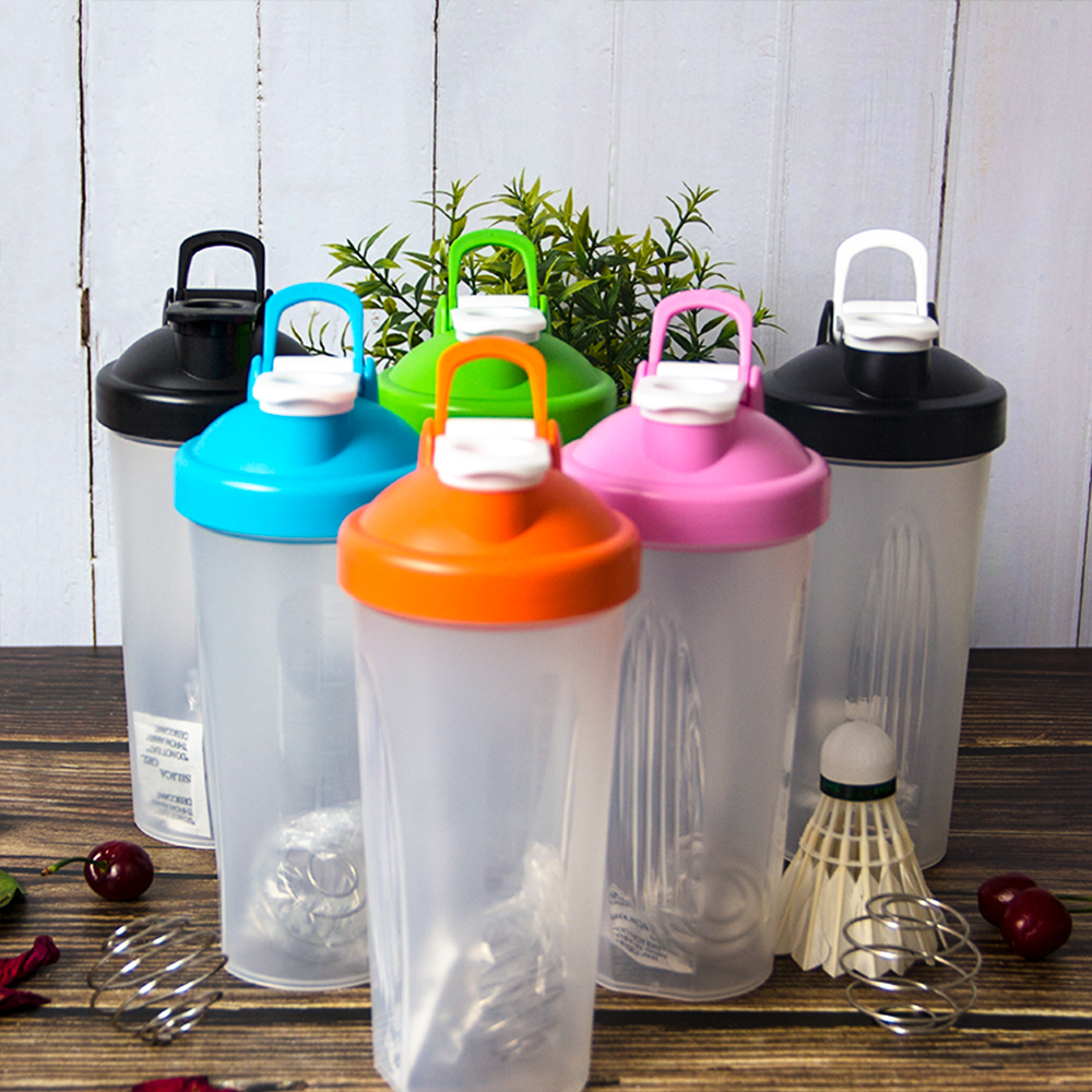 600ml Protable Shaker Bottle Whey Protein Powder Gym Sports Bottle With Stirring Ball Leak Proof Lid Travel Outdoor Water Bottle image