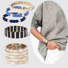 Плоские браслеты из сплава золотого и серебряного цвета, женские эластичные регулируемые браслеты-манжеты с эмалью и плиткой, мужские ювелирные изделия