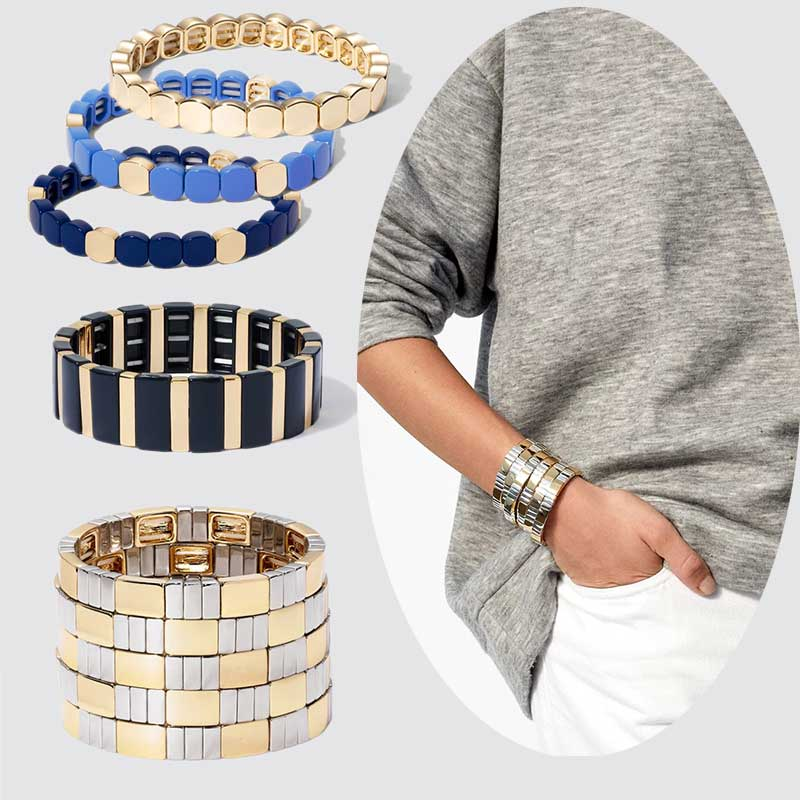 Flatfoosie Gold Silver Color Alloy Bracelets Women Stretch Enamel Tile Stackable Adjustable Cuff Bracelet Bangles Men Jewelry(China)