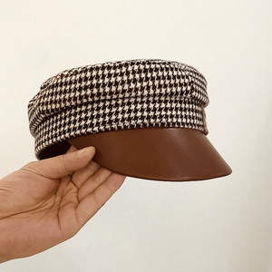 Image 4 - Autumn and Winter European Small Fragrant Letter Leather Along The Houndstooth Flat Hat Fashion Hat Peak Hat Hepburn Army Hat
