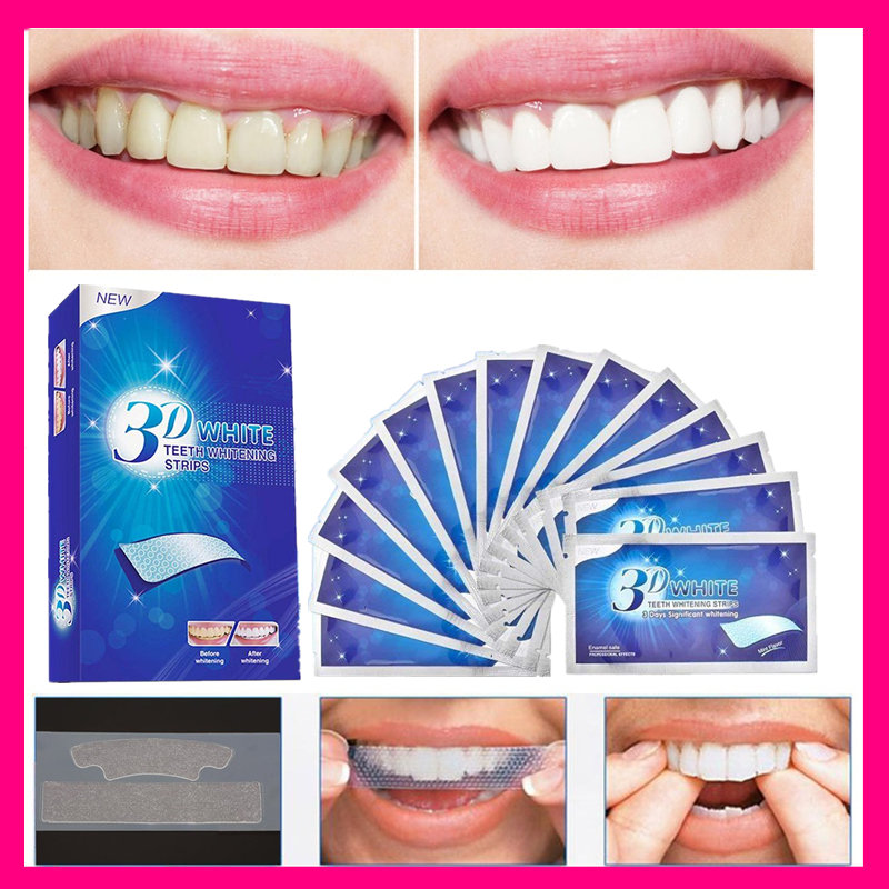 28Pcs/14Pair 3D Teeth Whitening Stripes Teeth Bleaching Tools White Veneers Double Elastic Strip Dental Oral Hygiene Clean Kit