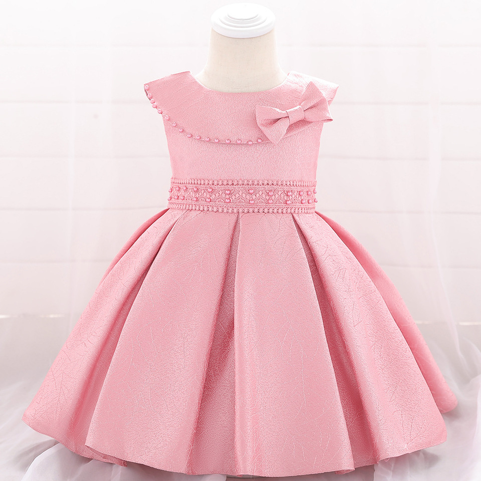 Baby Girls Dress 5 5 5 5 5 5 Months 5 Year Bow Cotton Pearl Baby Clothes  Girl Evening Dress Baby Girl Christmas Dress