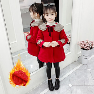 Image 2 - 3Color Girls Winter Warm Coats&Jacket,Children Winter High quality Solid Long sleeve Wool coat,Baby Girls Outwear For 3 8Yrs