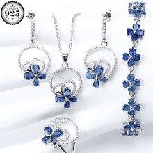 Hochzeit Silber 925 Schmuck Kostüm Schmuck Sets Frauen Blau Zirkonia Armband Ring Anhänger Halskette Ohrringe Set Geschenk Box