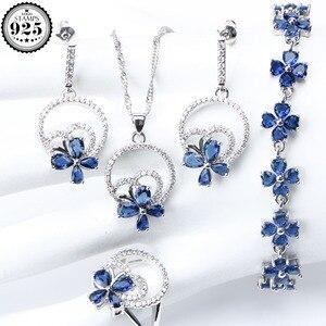 Image 1 - Wedding Silver 925 Jewellery Costume Jewelry Sets Women Blue Zirconia Bracelet Ring Pendant Necklace Earrings Set Gift Box