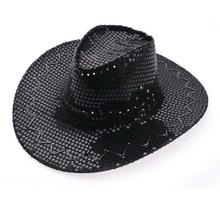 Sequined Western Cowboy Hat Outdoor Travel Leisure Unisex Rider Hat Sun Cap