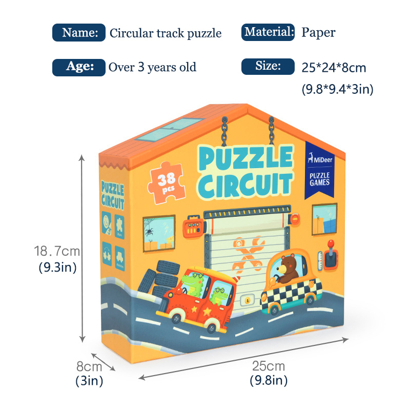 MiDeer Puzzles 38PCS Jigsaw Assembling Puzzles Toys Kids Games Educational Toys Construction Traffic Circle for 3-6Y Children 5