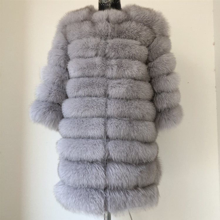 100% Natural Real Fox Fur Coat Women Winter Genuine Vest Waistcoat Thick Warm Long Jacket With Sleeve Outwear Overcoat plus size 81