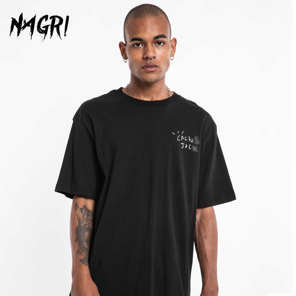 NAGRI Fashion Travis Scott Tur Lengan Pendek Kaktus Bersih Kanye West Pria dan Wanita Longgar Lengan Pendek T-shirt