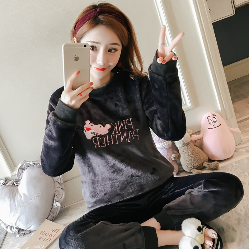 Coral Velvet Pajamas Women's Autumn And Winter Long Sleeve Thick Plush Warm Cute Flannel Tracksuit Winter Set Spring And Autumn