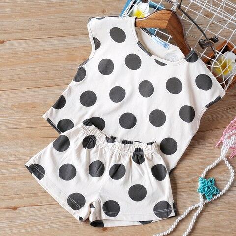 bebe verao roupas polka dot impresso manga curta em torno do pescoco superior shorts dois