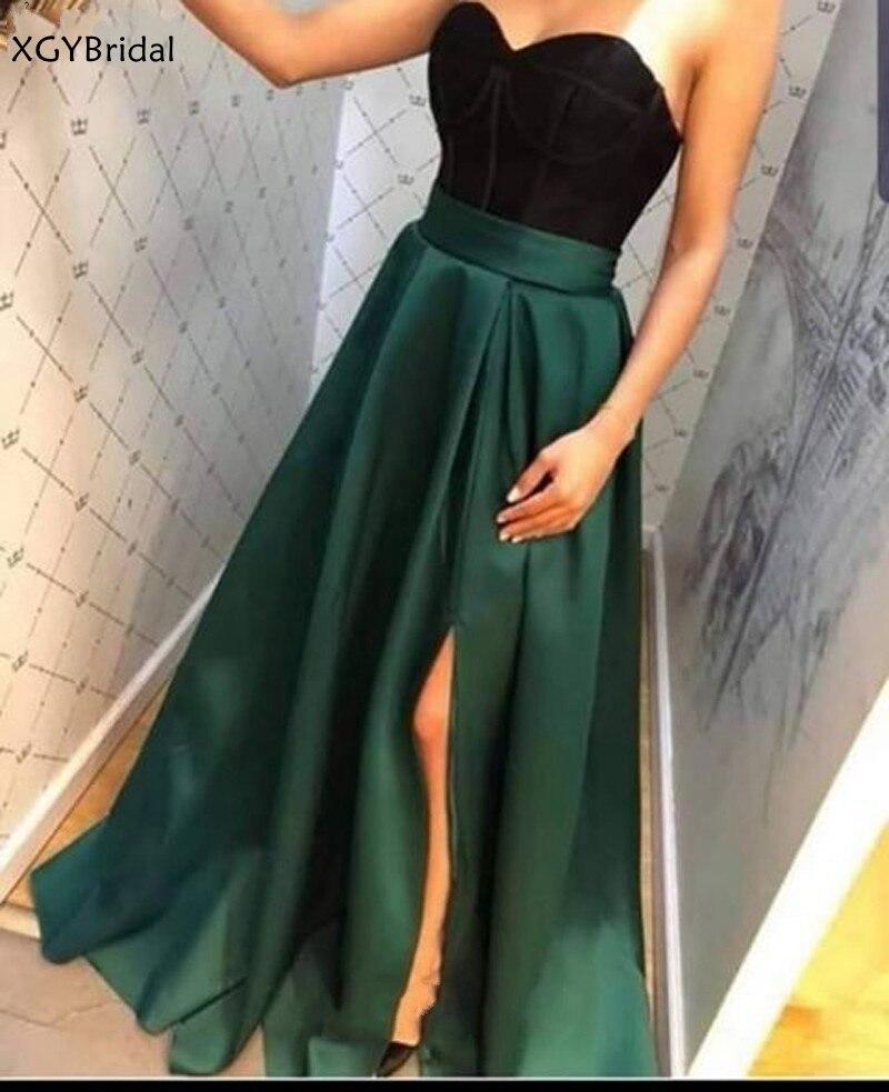 New Arrival Vestidos Sweetheart A-Line Green Evening Gowns Long Satin Evening Dresses Robe de soire