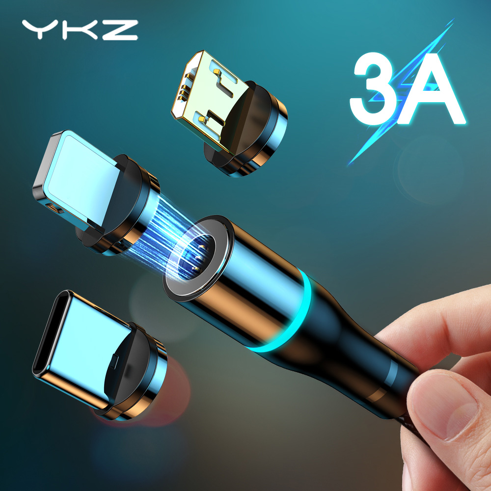 YKZ Magnetic Cable Type C Micro USB Cable 3A Quick Charger 3.0 Wire Cord Fast Charge For iPhone 12 Samsung USB-C Mobile Phone 11(China)