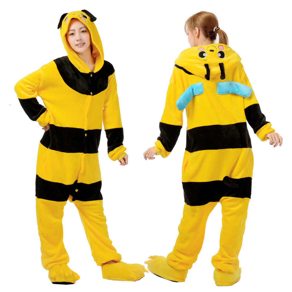 Kigurumi Yellow Bee Pigiama Party Animal Cosplay Costume Flanella tutina Gioco Animale Del Fumetto Degli Indumenti Da Notte