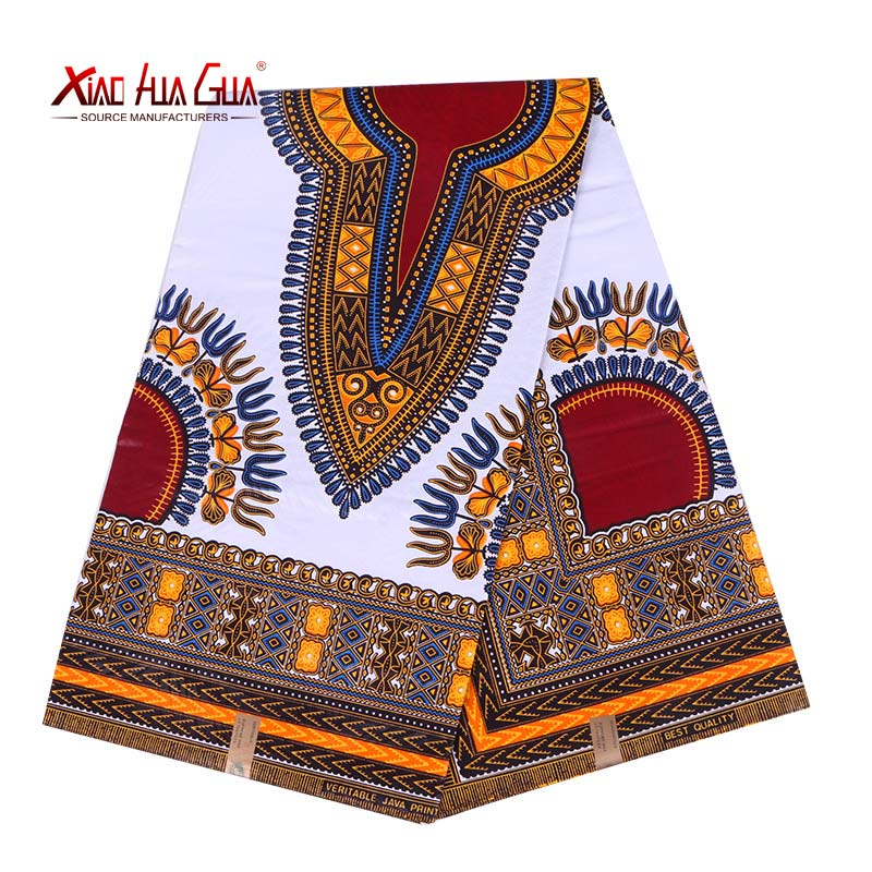 6 Yards Wax African Fabric Xiaohuagua Brand Kent Pattern Traditional Pure White Holy Sewing Wedding Fabric Cotton 24FJ2003