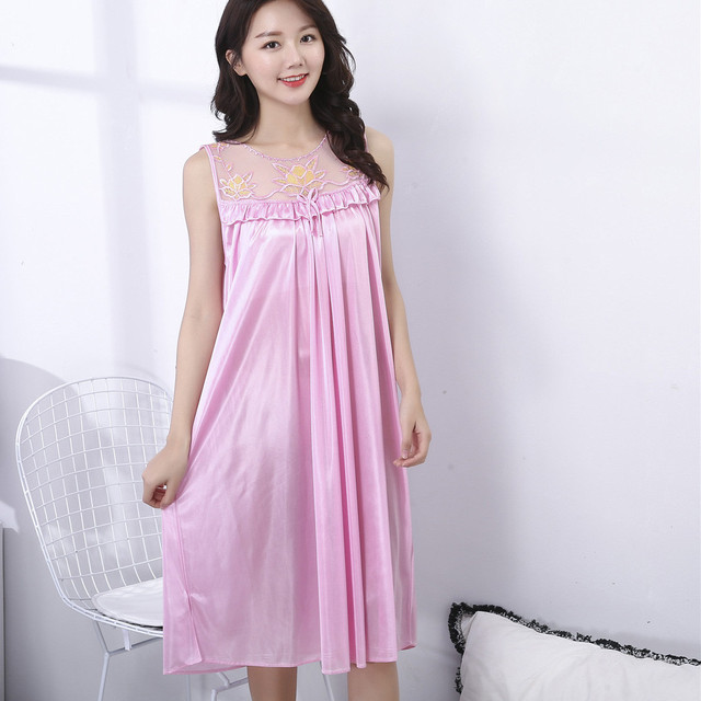 NEW Silk Nightgown Female Homewear Nightdress Women Loose  Comfort Silk Sexy O-Neck  Woman Sleepwear Nightgowns Pyjamas Ladies#W