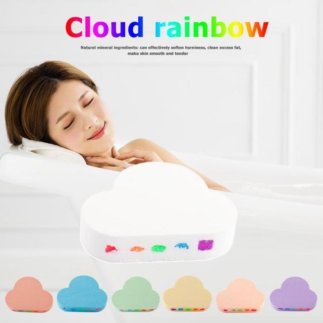 100g Rainbow Cloud Natural Bath Salt Exfoliating Moisturizing Bubble Bomb Ball Essential Oil Bubble Shower Natural Skin Care 3