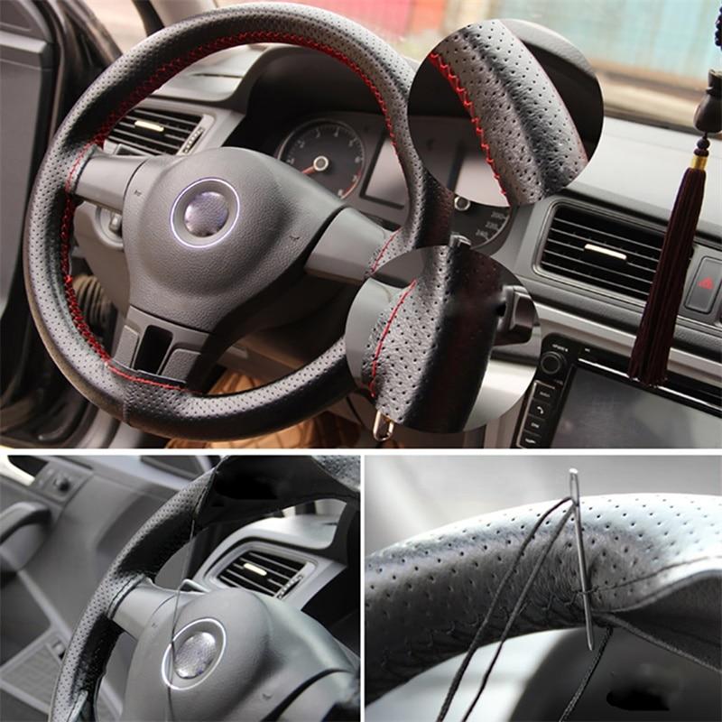 Volante do carro trança capa agulhas e linha de couro artificial carro cobre suíte odomy diy textura macia acessórios automóveis