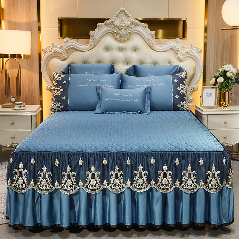 Fashion Lace Bed Skirt Home Decor Bedding Set Luxury Machine Washable Non Slip Embroidery Bedspreads for Queen/King Size Bed