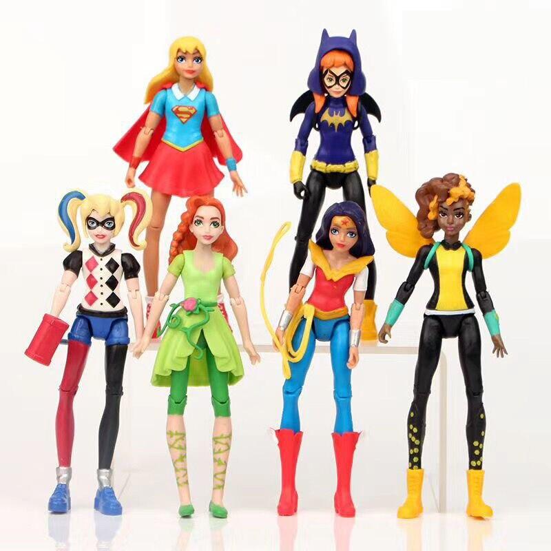 6 шт./лот DC Лига Справедливости чудо-женщина Харли Квинн супер девушка ПВХ экшн-фигурка Коллекционная модель игрушка