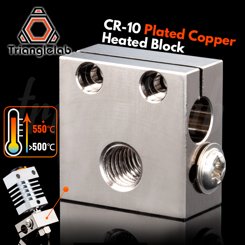 trianglelab Swiss CR10 Plated Copper Heat Block For CR10 Hotend cr-10 Hotend for mk8 nozzle BMG Extruder ender3 cr-10s