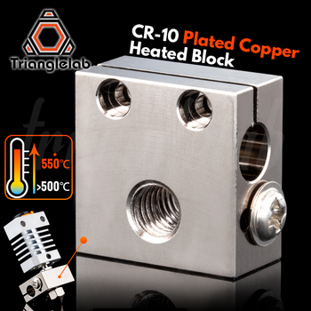 trianglelab Swiss CR10 Plated Copper Heat Block For CR10 Hotend cr-10 Hotend for mk8 nozzle BMG Extruder ender3 cr-10s mellow all metal nf crazy hotend v6 copper nozzle for ender 3 cr10 prusa i3 mk3s alfawise titan bmg extruder 3d printer parts