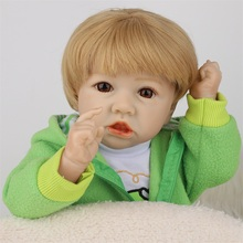 22 Inch 55CM Lifelike Reborn Baby Gold Hair Green Clothes Soft Real Touch Full Silicone Toy Kid Gift Crooked Mouth Kid Playmate 55cm lifelike boneca reborn baby doll soft real touch full silicone toys for children birthday gift crooked mouth doll kids