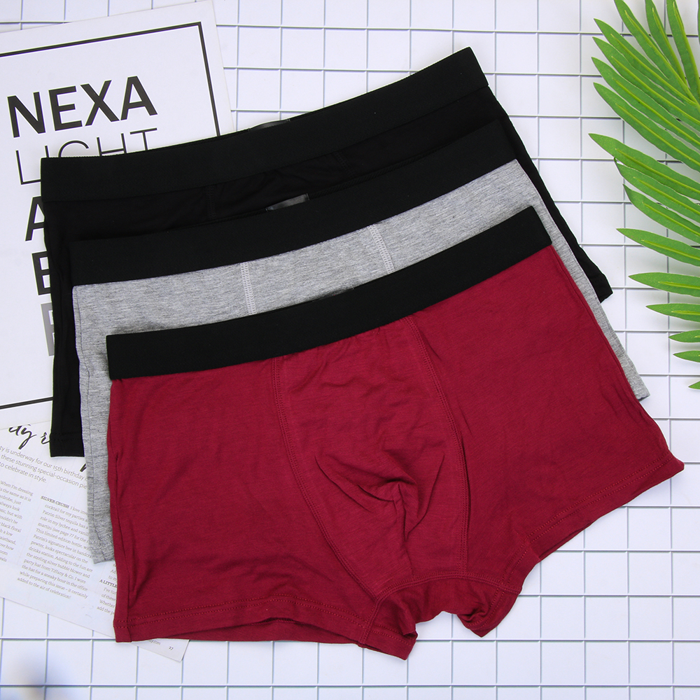 Underwear Boxer Shorts Panties Sexy U-Cotton Male Pure Solid Cuecas Men