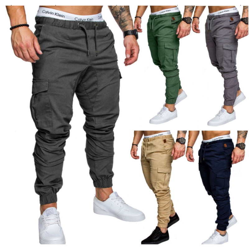 Men Casual Cargo Pants Autumn New Male Jogger Trousers Solid Fitness Multi-pocket Men's Sportswear Military Tactical Sweatpants