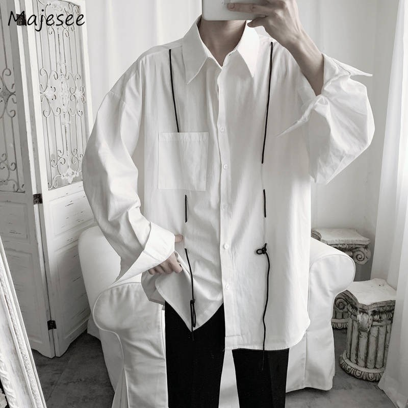 Men Shirts Solid Student Korean Style Turn-down Collar Simple Trendy Chic Mens Long Sleeve Outwear Harajuku Ulzzang Retro Casual
