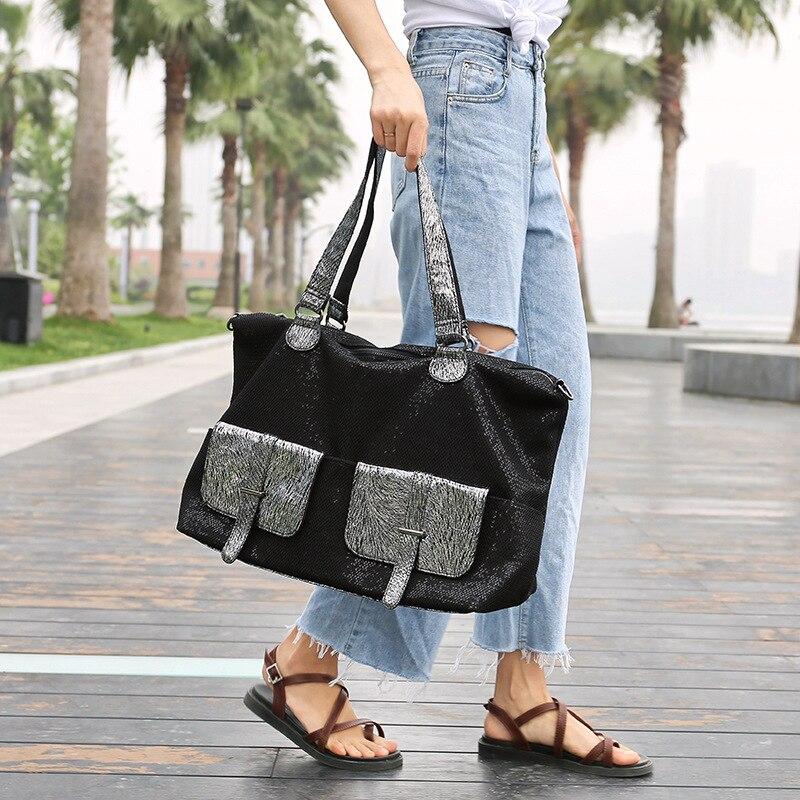 Große Kapazität Leder Taschen für Frauen Reise Messenger Taschen Große Tote Handtasche Reisetasche