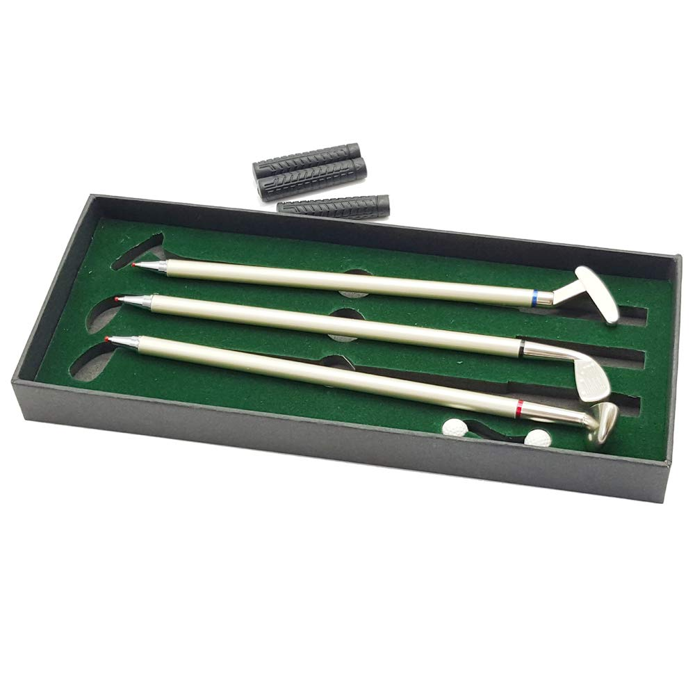 Golf Pen Set with Mini Green Driving Range Golf Club Pens Balls and Flag 3
