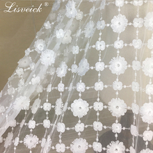 1yard Sequined embroidery 3D flower mesh lace fabric Beautiful wedding dress cloth diy sewing craft Clothing accessories