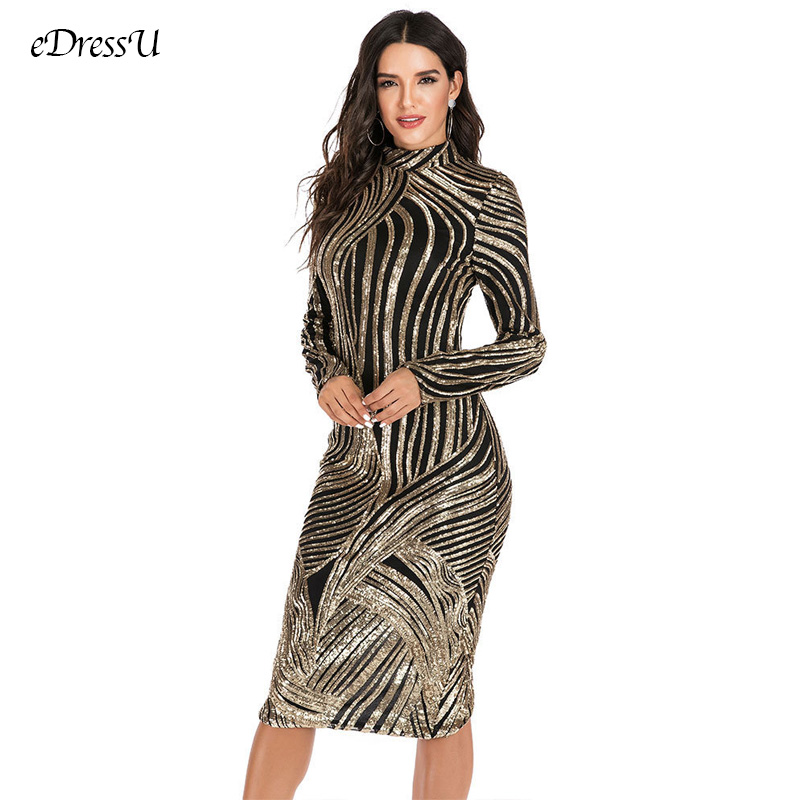 Snakeskin Sequins Evening Party Dress O-neck Evening Prom Dress Glitter Knee Length Dress Sexy Split Dress YMK-2795