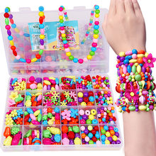 DIY Colorful Acrylic Beads Girls Puzzle Set Toy Jewelry Necklace Bracelet Handmade String Bead Educational Toys Children Gift(China)