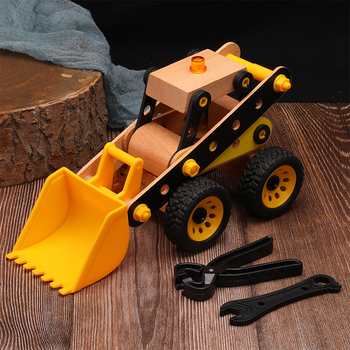 цена на Wooden Toy construction vehicle Model Building Kits Children's Assembly Building block DIY  inserting block car toy toddler car