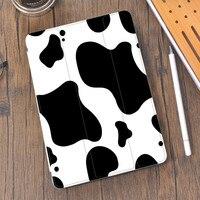 Tier Muster Kuh Silikon Abdeckung für Air 4 iPad Fall 2020 Nette Mit Bleistift Halter Air 2 Funda 10,2 8th 7th Pro 11 12,9 Mini 5