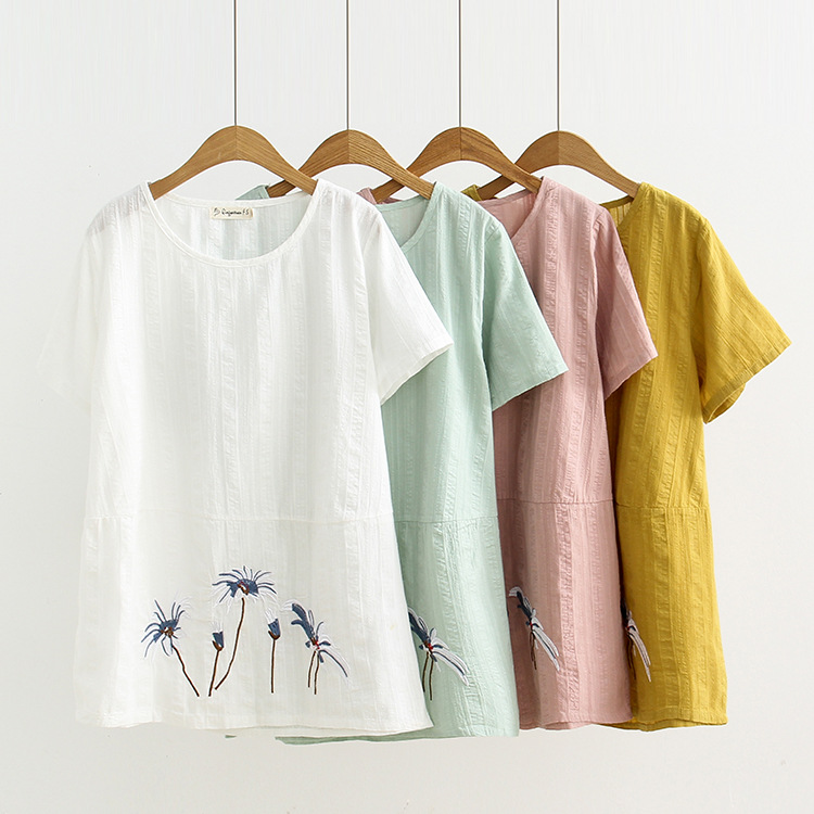 S74 Large Size Dress 2019 Summer Wear New Style Fat Mm Pullover Embroidery Short Sleeve Versatile Base Shirt T-shirt 898
