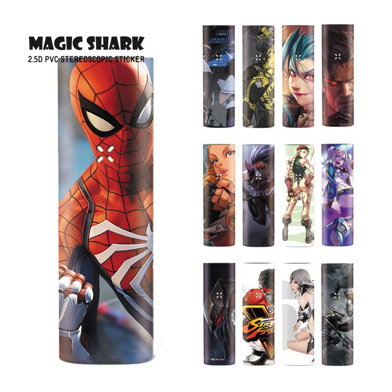 Magic Shark Dragon LOL Jinx Spider Man Fighter Harley Quinn Pod Vape Case Cover Film Skin Sticker For Pax 3 Kit No Fade