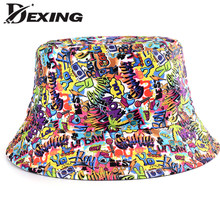 2021 New Summer Cartoons Graffiti Bucket Hat For Women Men Outdoor Foldable Bob Fisherman Hat Girls Boys Gorros Panama Sun Hat