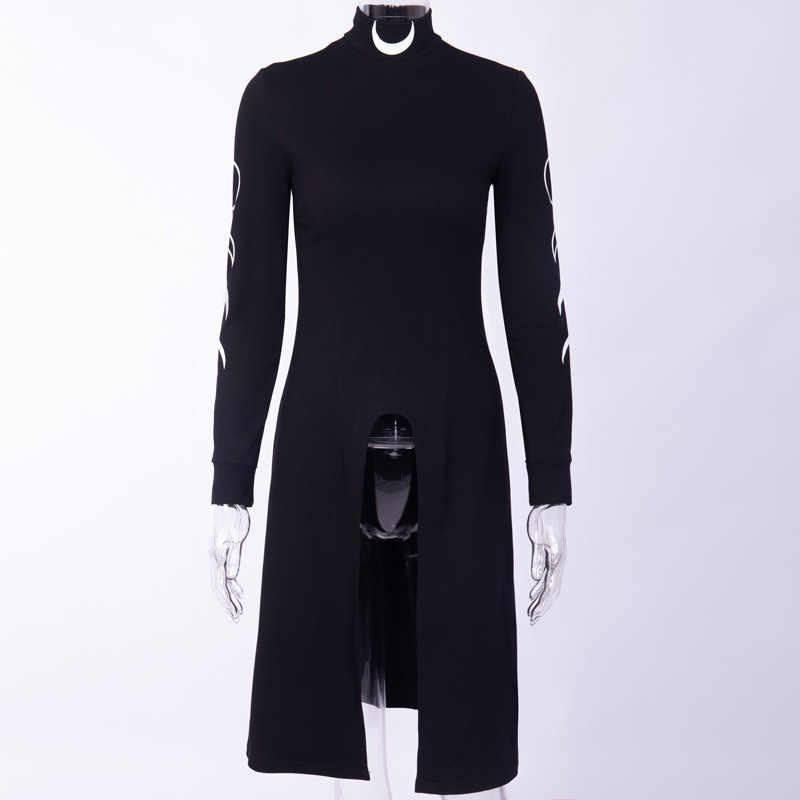 Goth Dark Moon Print Jurken Grunge Coltrui Lange Mouw Mini Jurk Fashion Design Bottom Split Duisternis Streetwear Jurk 2020