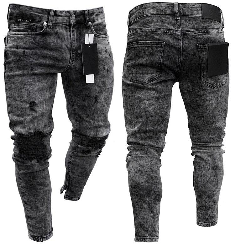 Europe And America Hot Sales New Style Men's Skinny Jeans Snowflake Casual Slim Fit Zipper Skinny Pants Men